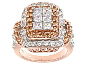 Pre-Owned White And Brown Cubic Zirconia 18k Rose Gold Over Silver Ring 5.50ctw (2.88ctw DEW)