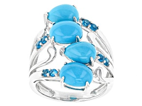 Pre-Owned Blue Turquoise Sterling Silver Ring .30ctw