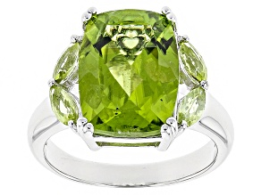 Pre-Owned Green Peridot Sterling Silver Ring 6.72ctw