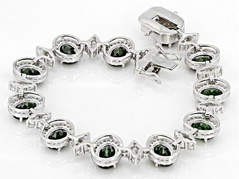 Pre-Owned Green Chrome Diopside Sterling Silver Bracelet 20.30ctw
