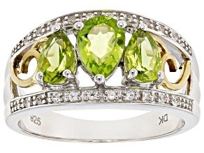Pre-Owned Green Peridot Two-Tone Sterling Silver Ring 1.46ctw