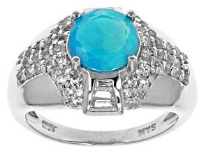 Pre-Owned Paraiba Blue Color Ethiopian Opal Silver Ring 1.75ctw