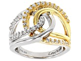 Pre-Owned White Cubic Zirconia Rhodium & 18k Yellow Gold Over Sterling Silver Ring 1.23ctw