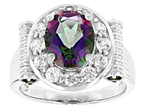 Pre-Owned Green Mystic Topaz® Sterling Silver Ring 4.41ctw