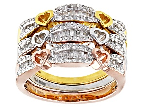 Pre-Owned Diamond 14k Yellow Gold Rose Gold And Rhodium Over Sterling Silver Ring .45ctw