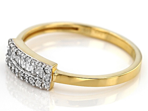 Pre-Owned White Diamond 14k Yellow Gold Over Sterling Silver Ring .20ctw