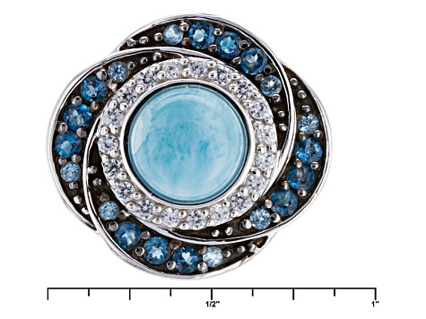 Pre-Owned Blue Larimar Sterling Silver Ring .89ctw