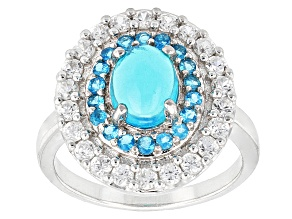 Pre-Owned Blue Ethiopian Opal, Neon Apatite And White Zircon Sterling Silver Ring. 2.43ctw