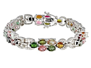 Pre-Owned Multi Tourmaline Sterling Silver Bracelet 17.08ctw