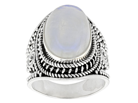 Pre-Owned White Rainbow Moonstone Solitaire Sterling Silver Ring