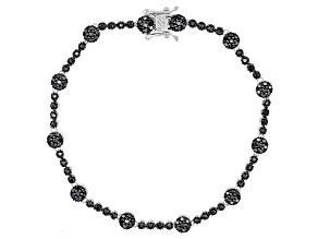 Pre-Owned Black Spinel Sterling Silver Bracelet 1.37ctw