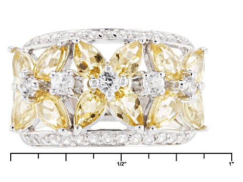 Pre-Owned Yellow Brazilian Beryl And White Zircon Sterling Silver Band Ring 2.62ctw