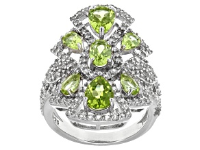 Pre-Owned Green Peridot Sterling Silver Ring 3.32ctw.