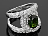 Pre-Owned Green Chrome Diopside Sterling Silver Ring 4.27ctw