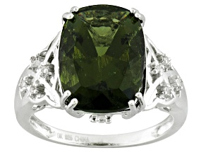 Pre-Owned Green Moldavite Sterling Silver Ring 4.13ctw