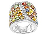 Pre-Owned Multi-Sapphire Sterling Silver Ring 5.00ctw