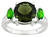 Pre-Owned Green Moldavite Sterling Silver Ring 2.97ctw
