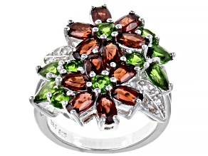 Pre-Owned Mozambique Garnet, Russian Chrome Diopside And White Topaz 5.41ctw Sterling Silver Ring .