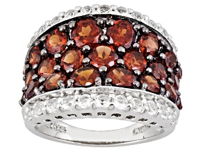 Pre-Owned Womens Band Ring Red Garnet White Topaz 5ctw Round Sterling Silver