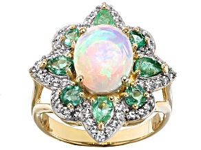 Pre-Owned Ethiopian Opal 10k Yellow Gold Ring 2.47ctw