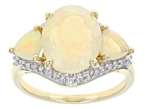Pre-Owned Ethiopian Opal 10k Yellow Gold Ring 1.57ctw