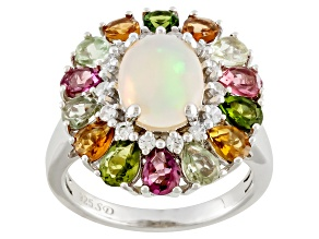 Pre-Owned White Ethiopian Opal Silver Ring 3.58ctw