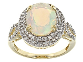 Pre-Owned Multi Color Ethiopian Opal 10k Yellow Gold Ring 2.27ctw.