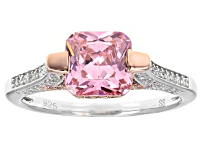 Pre-Owned Pink & White Cubic Zirconia Rhodium & 18k Rose Gold Over Sterling Silver Ring 3.80ctw