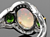 Pre-Owned Ethiopian Opal Sterling Silver Ring 2.97ctw
