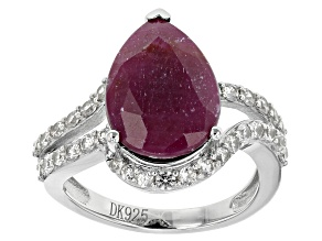 Pre-Owned Red indian Ruby Sterling Silver Ring 6.90ctw
