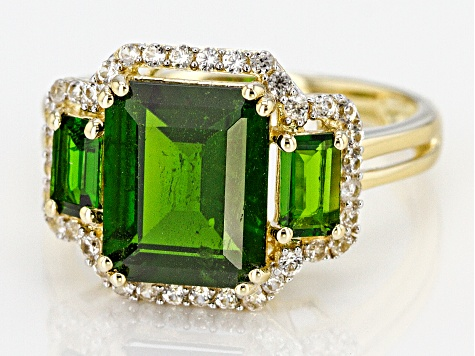 Pre-Owned Green Chrome Diopside 10k Yellow Gold Ring 3.80ctw