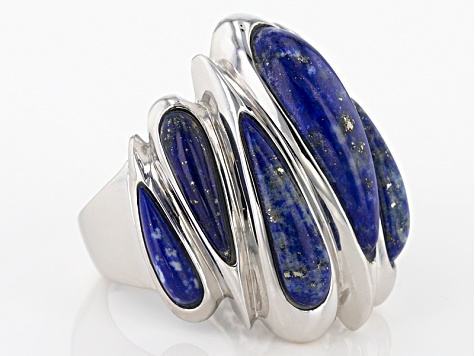 Pre-Owned Blue Lapis Sterling Silver Ring