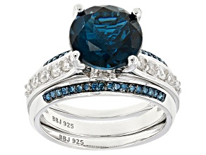 Pre-Owned London Blue Topaz Sterling Silver Ring and Enhancer Set 4.47ctw