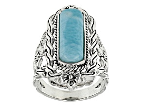 Pre-Owned 20x6mm Fancy Cut Cabochon Blue Larimar .925 Sterling Silver Ring