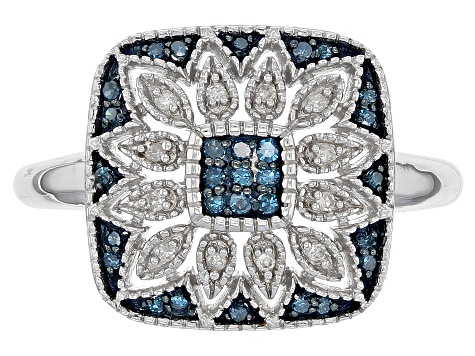 Pre-Owned Blue And White Diamond Rhodium Over Sterling Silver Ring .16ctw