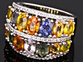 Pre-Owned 7.80ctw Oval Multi-Color Sapphire With .62ctw Rd White Zircon Sterling Silver Band Ring
