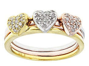 Pre-Owned Diamond Rhodium And 14k Yellow And Rose Gold Over Sterling Silver Ring .20ctw