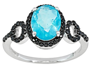 Pre-Owned Blue Ethiopian Opal .95ct With Black Spinel .30ctw Sterling Silver Ring