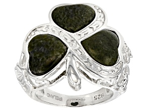 Pre-Owned Green Connemara Marble Sterling Silver Shamrock Ring
