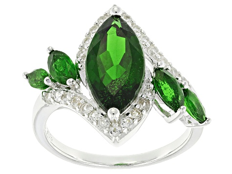 Pre-Owned Green Chrome Diopside Sterling Silver Ring 4.16ctw