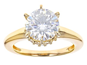 Pre-Owned Moissanite 14k Yellow Gold Over Silver Ring 2.98ctw DEW