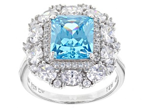 Pre-Owned Blue And White Cubic Zirconia Rhodium Over Sterling Silver Ring 8.92ctw
