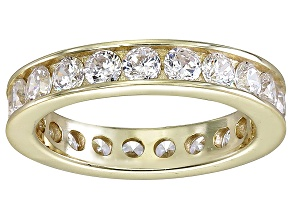 Pre-Owned Bella Luce® 3.42ctw Round Diamond Simulant 18k Yellow Gold Over Silver Ring