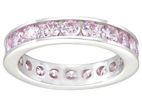 Pre-Owned Bella Luce® 3.42ctw Round Pink Diamond Simulant Rhodium Over Silver Ring