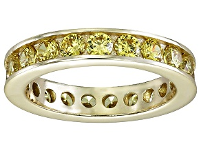 Pre-Owned Bella Luce® 3.42ctw Yellow Diamond Simulant 18k Yellow Gold Over Silver Ring