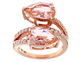 Pre-Owned Morganite Simulant & White Cubic Zirconia 18k Rose Gold Over Sterling Silver Ring 7.24ctw
