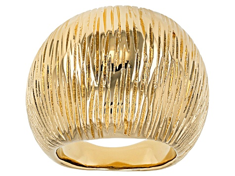 Pre-Owned 18k Yellow Gold Over Bronze Textured Dome Ring