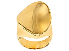 Pre-Owned 18k Yellow Gold Over Bronze Concave Ring