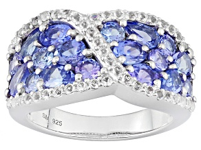 Pre-Owned Blue Tanzanite Sterling Silver Band Ring 2.74ctw