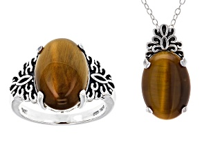 Pre-Owned Brown Tiger's Eye Sterling Silver Jewelry Set